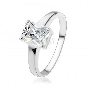 Stříbrný prsten 925 s obdélníkovým broušeným zirkonem čiré barvy