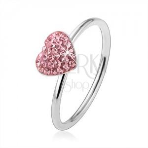 Stříbrný prsten 925 se světle růžovým zirkonovým srdcem