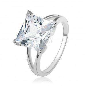 Zásnubní stříbrný 925 prsten s masivním čtvercovým zirkonem
