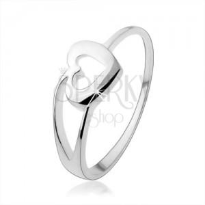 Prsten ze stříbra 925 s obrysem srdce a rozdvojeným ramenem