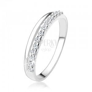 Stříbrný prsten 925 s hladkou a čirou zirkonovou linií