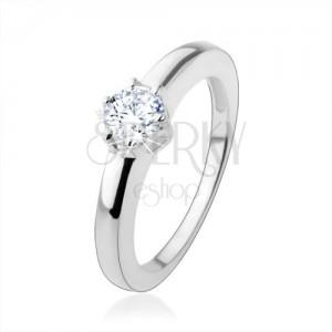 Zásnubní prsten ze stříbra 925 s kulatým broušeným zirkonem