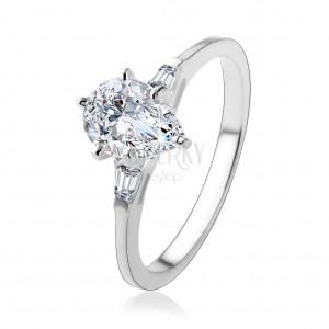 Stříbrný 925 prsten, lesklá slza z čirého zirkonu, lichoběžníky