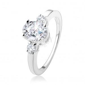 Zásnubní prsten se třemi třpytivými zirkony, stříbro 925