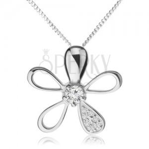 Nastavitelný náhrdelník ze stříbra 925, kvítek s různými okvětními lístky
