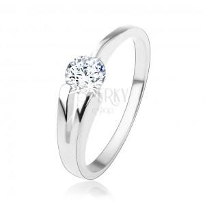 Prsten ze stříbra 925, čirý kulatý zirkon, rozdvojené rameno