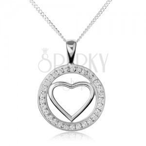 Stříbrný náhrdelník 925, lesklá kontura srdce v zirkonovém kroužku