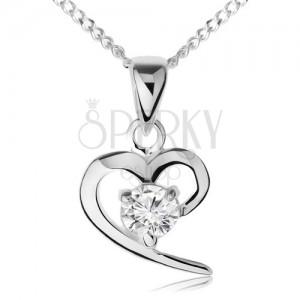Náhrdelník ze stříbra 925, obrys asymetrického srdce, čirý zirkon