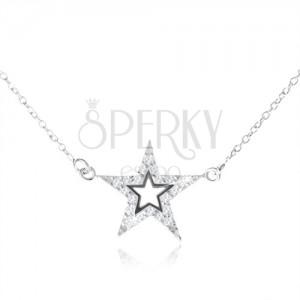 Stříbrný 925 náhrdelník, pěticípá zirkonová hvězda s výřezem