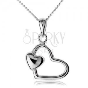 Řetízek s přívěskem, stříbro 925, kontura srdce s malým srdíčkem