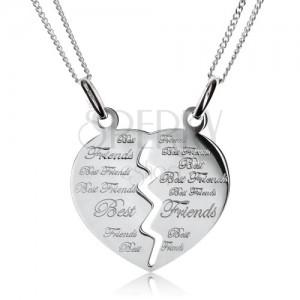 """Dva řetízky s dvojpřívěskem - rozpůlené srdce """"Best Friends"""", stříbro 925"""