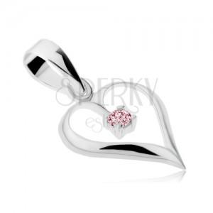 Přívěsek ze stříbra 925, lesklá kontura srdce, růžový zirkon