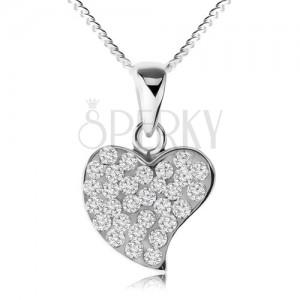 Náhrdelník ze stříbra 925, třpytivé nepravidelné srdce, čiré zirkony