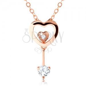 Stříbrný 925 náhrdelník měděné barvy, obrys srdce, dvě malá srdíčka