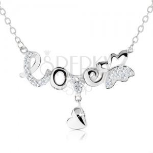"""Nastavitelný náhrdelník, nápis """"love"""", motýlek, visící srdíčko, stříbro 925"""