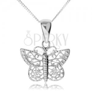Stříbrný náhrdelník 925, lesklý motýl s filigránovými křídly