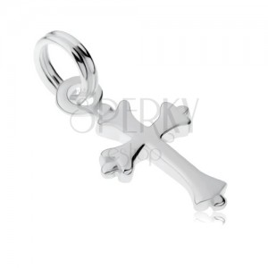 Přívěsek ze stříbra 925, malý liliový křížek, zrcadlový lesk
