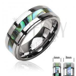 Wolframový prsten s perletí