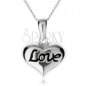 """Nastavitelný náhrdelník, srdíčko s nápisem """"Love"""", stříbro 925"""