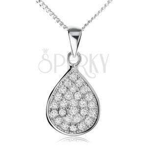 Stříbrný náhrdelník 925, třpytivá zirkonová slza, řetízek