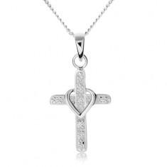 Náhrdelník ze stříbra 925, kříž zdobený zirkony, obrys srdíčka