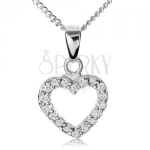 Stříbrný 925 náhrdelník, čirá zirkonová kontura souměrného srdíčka