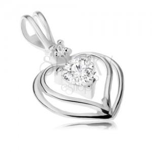 Stříbrný přívěsek 925 - dva obrysy srdcí, čiré zirkonové srdíčko