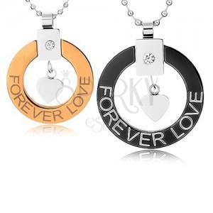 "Náhrdelníky pro dva z chirurgické oceli, obrys kruhu, srdíčko, ""Forever love"""