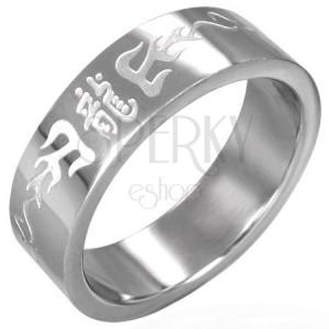Prsten z chirurgické oceli s čínskými symboly