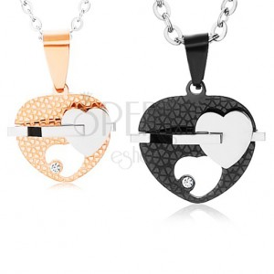 Set ocelových náhrdelníků, dvoubarevná srdíčka s výřezem, čirý zirkon