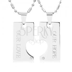 Ocelové náhrdelníky pro dva, známka s výřezem ve tvaru polovičního srdce, nápis