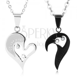 Set ocelových náhrdelníků pro zamilované, srdíčkové přívěsky, čiré zirkony