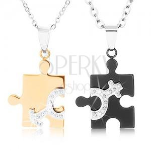 Náhrdelníky z oceli 316 pro dvojici, puzzle ve dvou barvách, symboly ON a ONA
