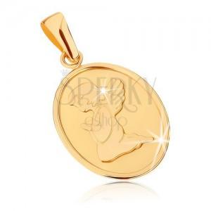 Zlatý přívěsek 375 - oválná plochá známka, andílek při modlitbě
