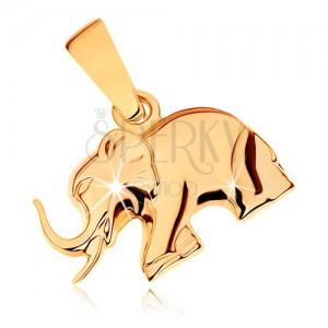 Přívěsek ze žlutého 9K zlata - lesklý kráčející slon