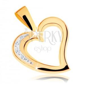 Zlatý přívěsek 375 - obrys nepravidelného srdíčka, čiré zirkonky
