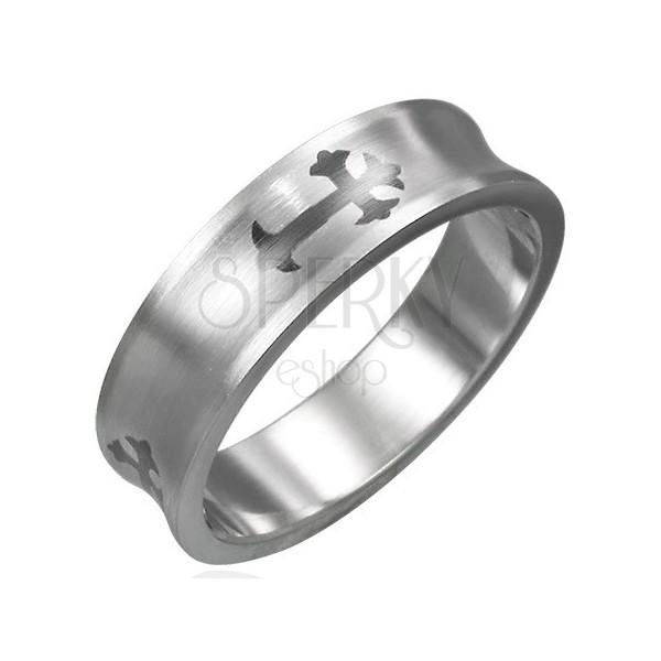 Prsten z chirurgické oceli - kříž