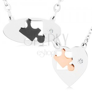 Náhrdelníky z chirurgické oceli pro dva, ovál a srdce, dílky puzzle, zirkon