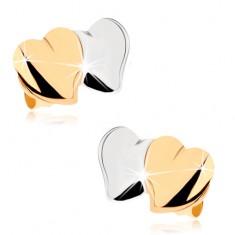 Puzetové náušnice z 9K zlata - lesklá vypouklá srdíčka, dvoubarevné GG80.01