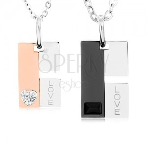 Set náhrdelníků z oceli pro pár, obdélníkový přívěsek - nápis, zirkon