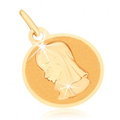 Zlatý přívěsek 375 - kruhový plochý medailon, Panna Marie
