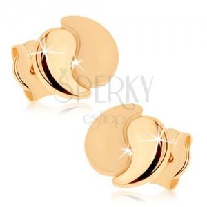 Náušnice ze žlutého 9K zlata - dvě zahnuté slzičky, lesklá a matná