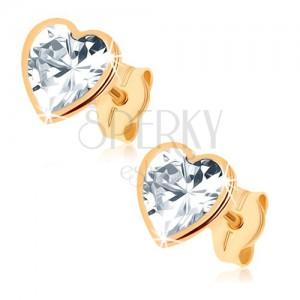 Zlaté náušnice 375 - třpytivé srdce z broušeného zirkonu, lesklý lem