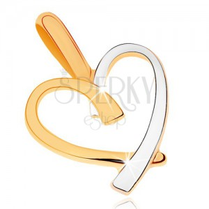 Dvoubarevný přívěsek v 9K zlatě - kontura nepravidelného srdce