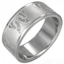 Ocelový prsten s motýlky