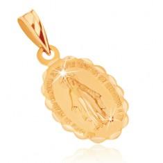 Přívěsek ze žlutého 9K zlata - oboustranný medailonek s Pannou Marií GG70.12