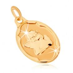 Zlatý přívěsek 375 - oválná známka, andílek podepírající si rukou hlavu