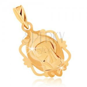 Přívěsek ze žlutého 9K zlata - medailon s Pannou Marií v ozdobném rámu