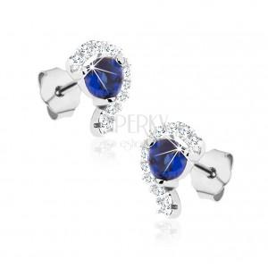 Puzetové náušnice, stříbro 925, zirkonová polovina srdce, modrý zirkon