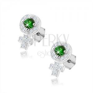 Stříbrné 925 náušnice, třpytivý symbol ženy, zelený zirkon